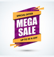 mega sale banner special offer concept discount vector image