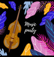 musical background classical cello bright leaves vector image