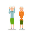 old woman two senior stand with his arms up his vector image vector image