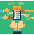 Online shopping hands concept print vector image vector image