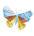 origami butterfly with musical notes vector image