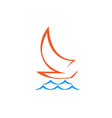 Original Stylized Sailboat On Waves vector image vector image