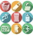 Paintball equipment flat color icons vector image vector image
