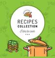 recipe book cookbook cover menu boiling pot vector image