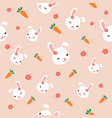 seamless bunny pattern with pink flowers cute vector image vector image