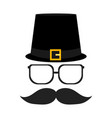 silhouettes glasses and a mustache with a beard vector image