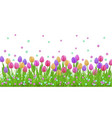 spring floral border with colorful tulips and vector image