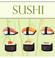 Sushi and rolls template vector image