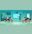 teacher and children in computer classroom vector image