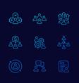 team management hr line icons set vector image vector image