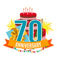 template 70 years anniversary congratulations vector image