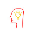 thin line light bulb in human head vector image