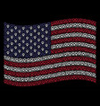 waving american flag stylization of map marker vector image