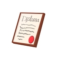 Diploma certificate cartoon icon vector image