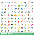 100 sky icons set isometric 3d style vector image vector image