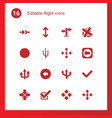 16 right icons vector image vector image