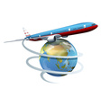A plane travelling around the globe vector image vector image