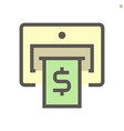 atm machine and banknote icon design vector image vector image