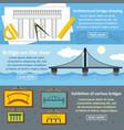 bridge design banner horizontal set flat style vector image