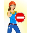builder woman holding a road sign vector image vector image