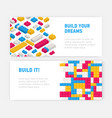 bundle of web banner templates with plastic vector image vector image
