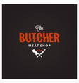 butchery logo butcher meat shop with knife and vector image