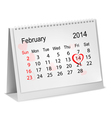 Calendar with hand written red heart February 14 vector image