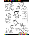 cartoon cute babies for coloring vector image vector image