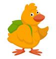 chicken bird with rucksack small birdie character vector image vector image