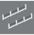 Classic white picket fence with bars vector image
