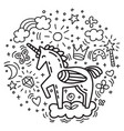 doodle unicorn vector image vector image