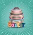 easter poster egg on blue pattern eggs vector image vector image