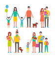family members cartoon characters walking together vector image
