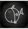 Fish Drawing on Chalk Board vector image vector image