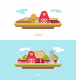 Flat Style of Farm Landscape with Farmhouses and vector image vector image