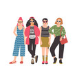 four young women or girls wearing stylish clothing vector image vector image