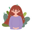 girl with long hair leaves foliage nature icon vector image