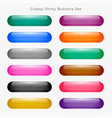 glossy wide round web buttons set vector image vector image