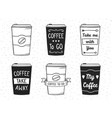 hand drawn coffee cups vector image