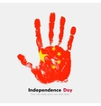 Handprint with the Flag of China in grunge style vector image vector image
