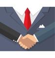 Handshake in flat style suit vector image
