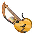 harp guitar isolated on white background vector image