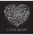 I love sport hand drawn doodle set vector image vector image