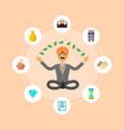 indian businessman meditation in lotus pose vector image vector image