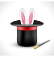 Magic hat with bunny rabbit ears Magic show vector image vector image