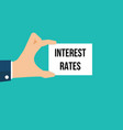 man showing paper interest rates text vector image