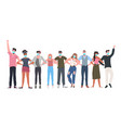 mix race people crowd in masks standing together vector image vector image