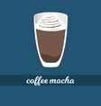 mocha coffee cup with whipped cream and chocolate vector image