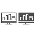 monitor with graph line and glyph icon computer vector image vector image