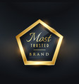 most trusted brand golden label and badge symbol vector image vector image